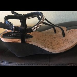 BCBG Wedge Sandals with Rhinestones, Silver Color
